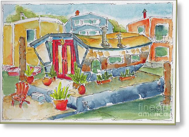 Greeting Card featuring the painting Sausalito Houseboat by Pat Katz
