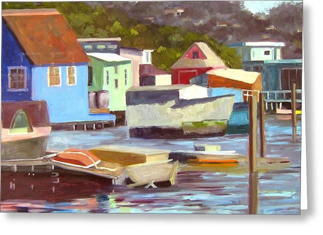Sausalito Houseboats No 2 Greeting Card by Deborah Cushman