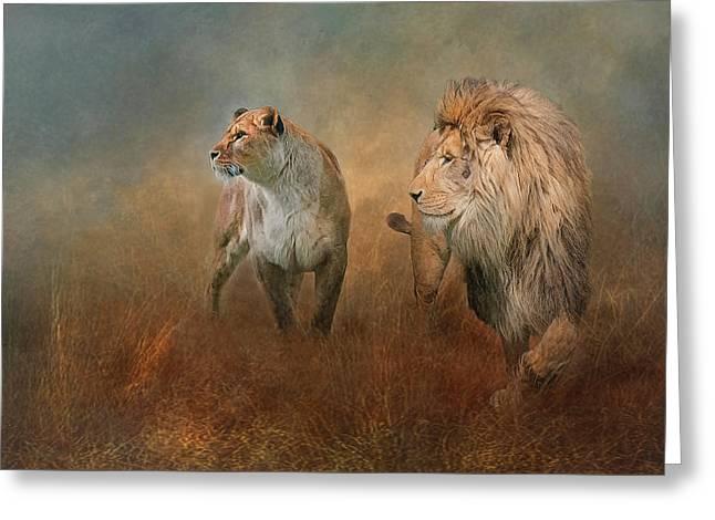 Savanna Lions Greeting Card
