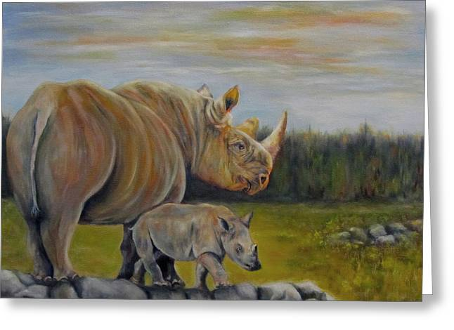 Savanna Overlook, Rhinoceros  Greeting Card