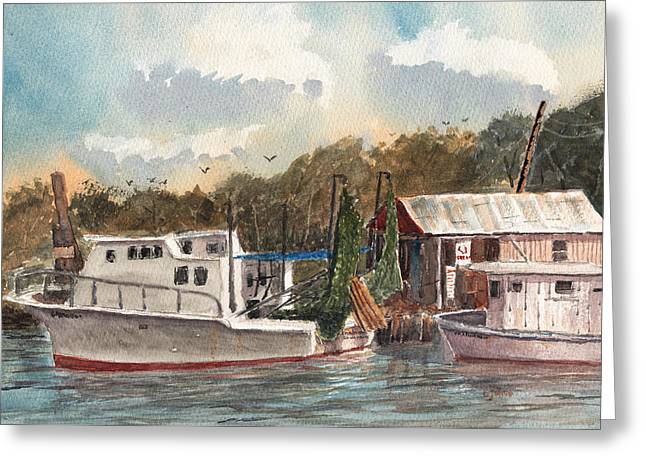Greeting Card featuring the painting Savannah Bait - Coastal Watercolor by Barry Jones