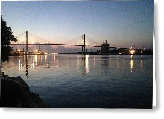 Savannah Bridge Evening  Greeting Card
