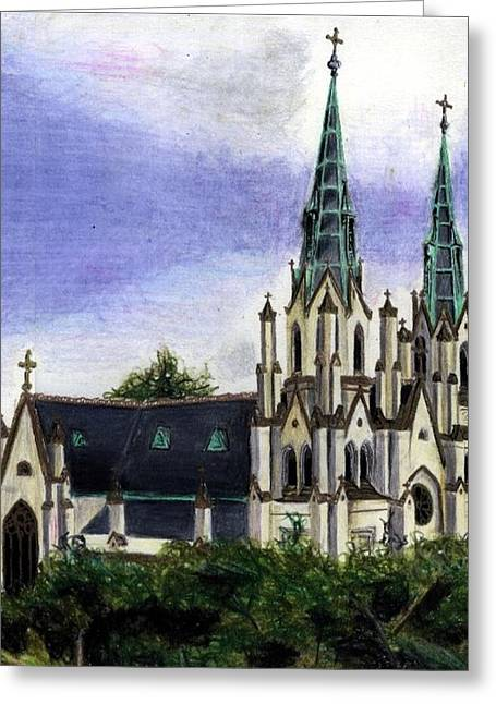 Savannah Cathedral Greeting Card by Scarlett Royal