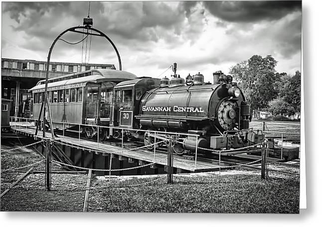 Savannah Central Steam Engine On Turn Table Greeting Card
