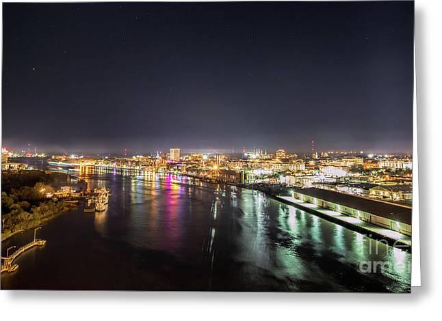 Savannah Georgia Skyline Greeting Card