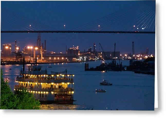 Savannah Harbor At Night Greeting Card by Leslie Lovell