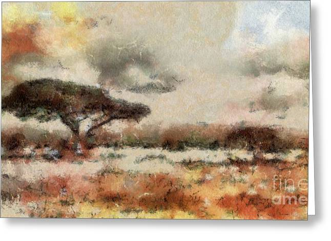 Savannah Landscape By Sarah Kirk Greeting Card