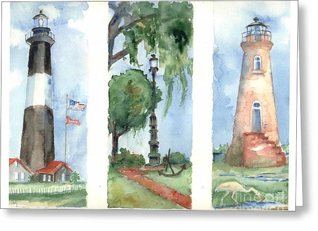 Savannah Lighthouses Greeting Card by Doris Blessington