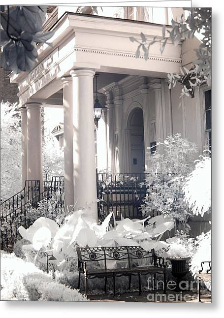 Savannah Porches Historical Homes - Savannah Olde Pink House Black White Infrared Architecture Print Greeting Card