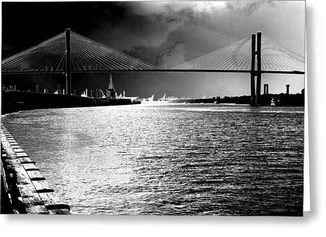 Savannah River Bridge Greeting Card by Lyle  Huisken