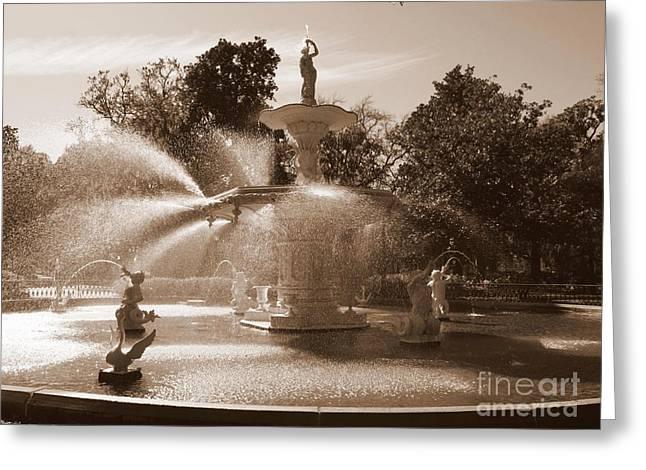 Savannah Sepia - Fountain Greeting Card by Carol Groenen