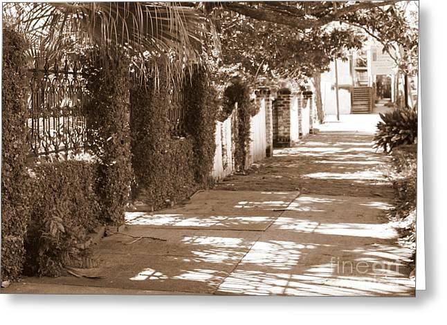 Savannah Sepia - Shadowed Sidewalk Greeting Card