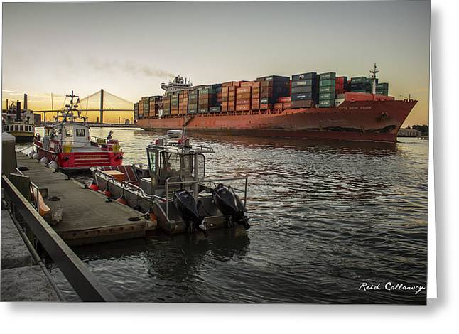 Savannah Shipping And Safety  Greeting Card by Reid Callaway