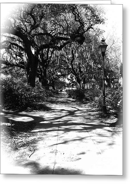 Savannah Sidewalk Black And White Greeting Card