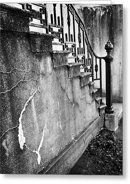 Savannah Stairway Black And White Greeting Card by Renee Sullivan