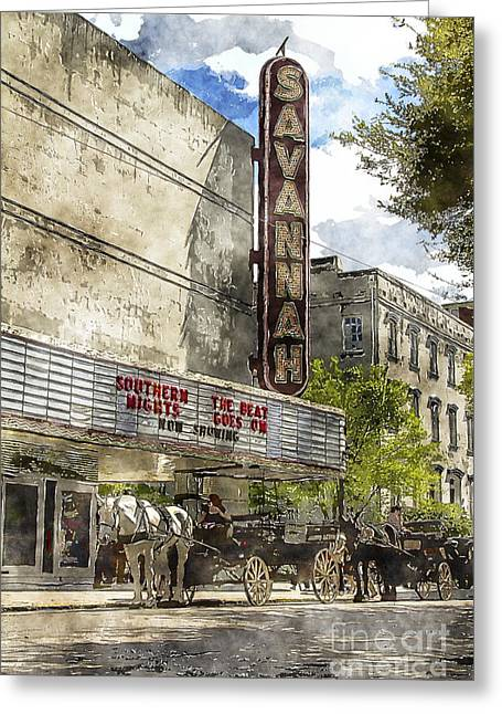 Savannah Theatre Greeting Card by Carrie Cranwill