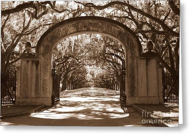 Savannaha Sepia - Wormsloe Plantation Gate Greeting Card