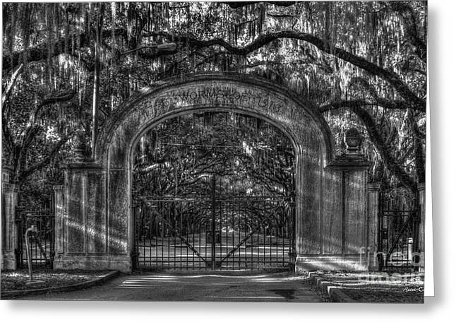 Greeting Card featuring the photograph Savannah's Wormsloe Plantation Gate Bw Live Oak Alley Art by Reid Callaway