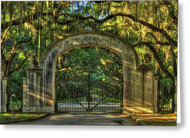 Greeting Card featuring the photograph Savannah's Wormsloe Plantation Gate Live Oak Alley Art by Reid Callaway
