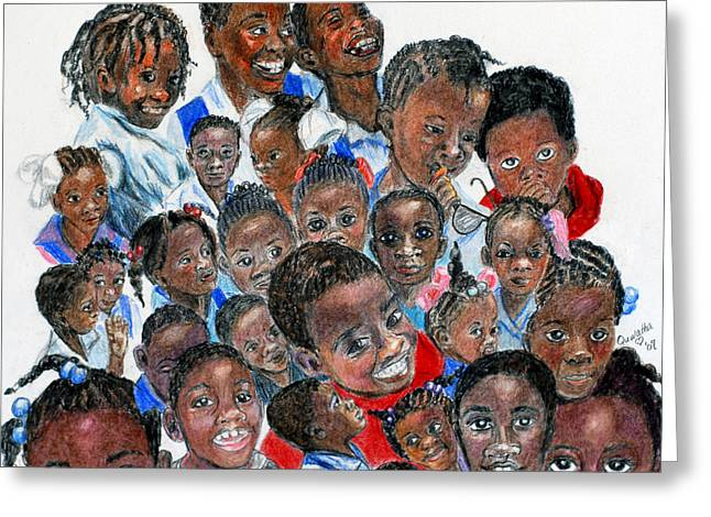 Greeting Card featuring the painting Save The Children by Quwatha Valentine