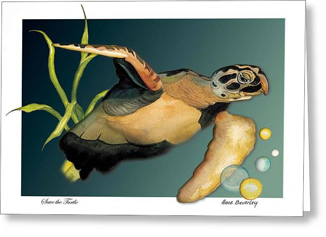 Greeting Card featuring the painting Save The Turtle by Anne Beverley-Stamps