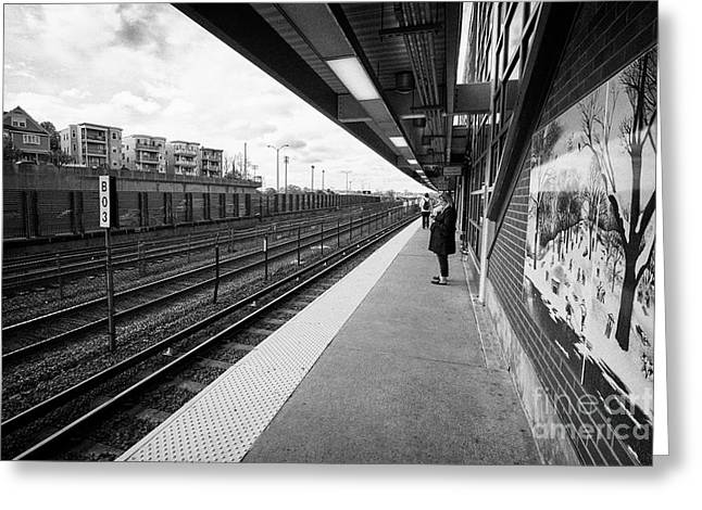 savin hill mbta station on the red line dorchester Boston USA Greeting Card