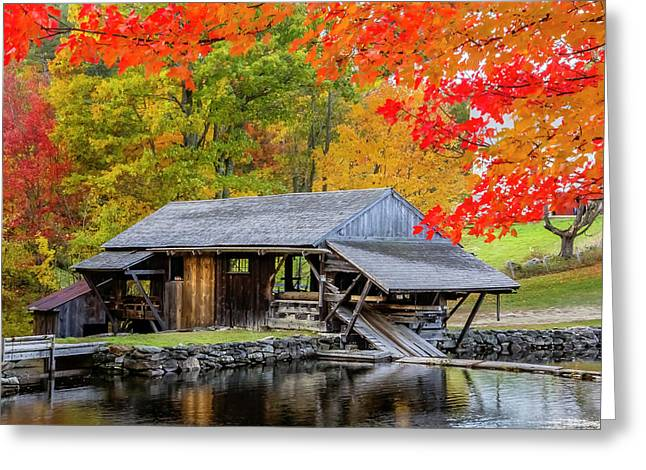 Sawmill Reflection, Autumn In New Hampshire Greeting Card