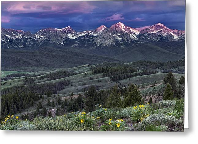 Sawtooth Sunrise Greeting Card by Leland D Howard