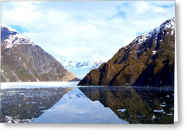 Snow Capped Greeting Cards - Sawyer Glacier 2 Greeting Card by Randall Weidner