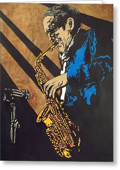 Sax After Dark Greeting Card by Shane Hurd