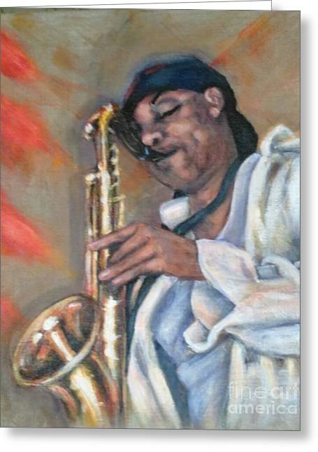 Sax And Linen Greeting Card