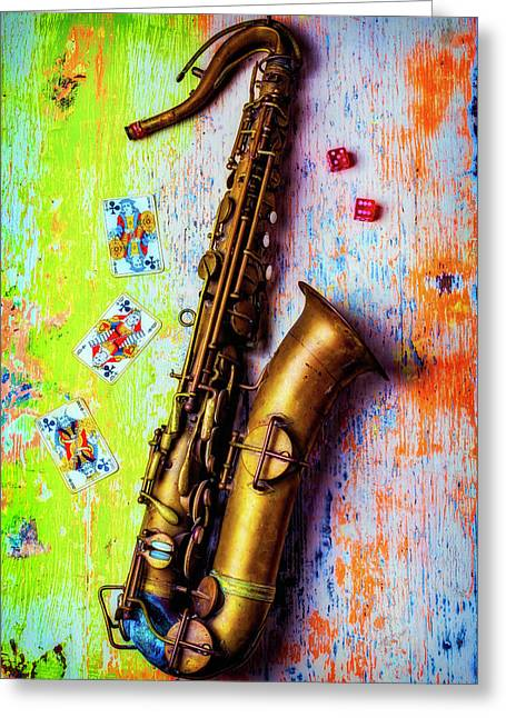 Sax And Old Playing Cards Greeting Card by Garry Gay