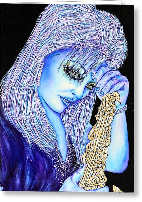 Sax Blue Greeting Card by Joseph Lawrence Vasile