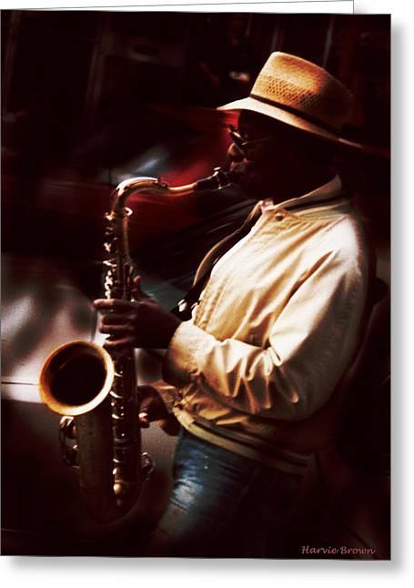 Sax Man Greeting Card by Harvie Brown