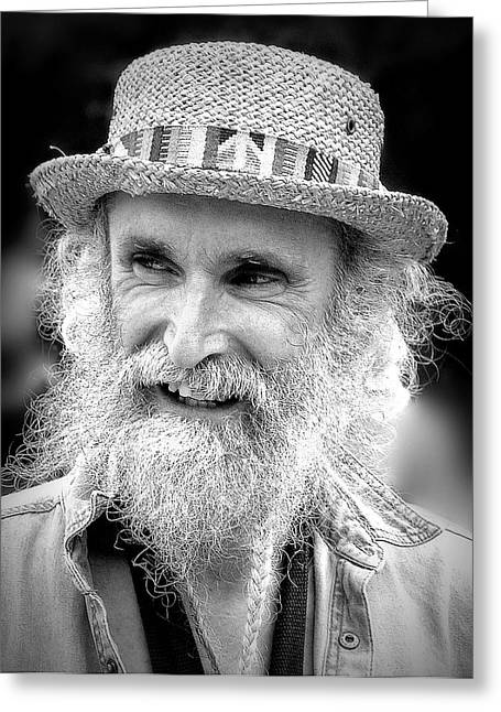 Sax Man In Black And White Greeting Card by Jen White