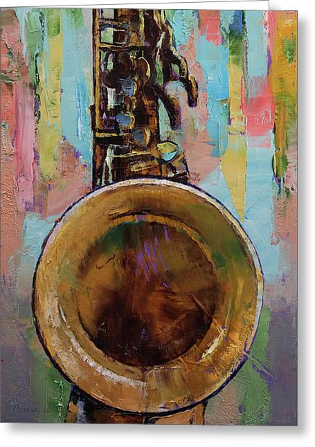 Sax Greeting Card by Michael Creese