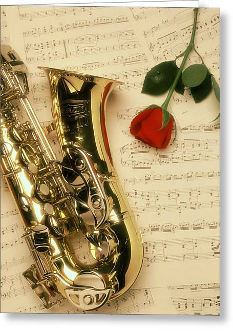 Sax Romance Greeting Card by Gerard Fritz