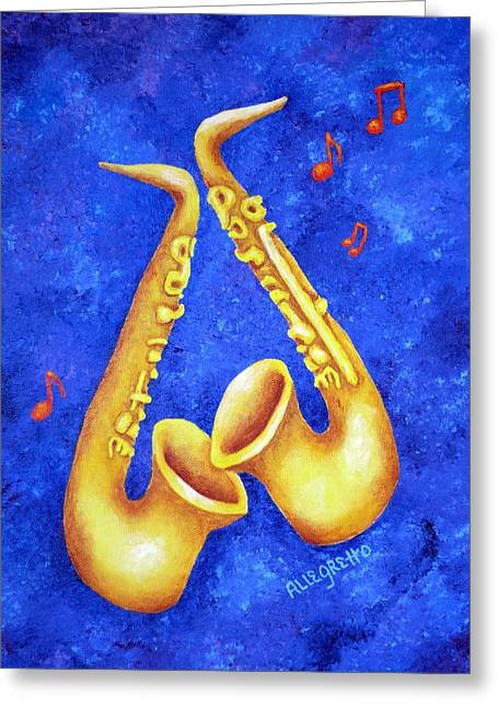 Sax Sex Greeting Card by Pamela Allegretto