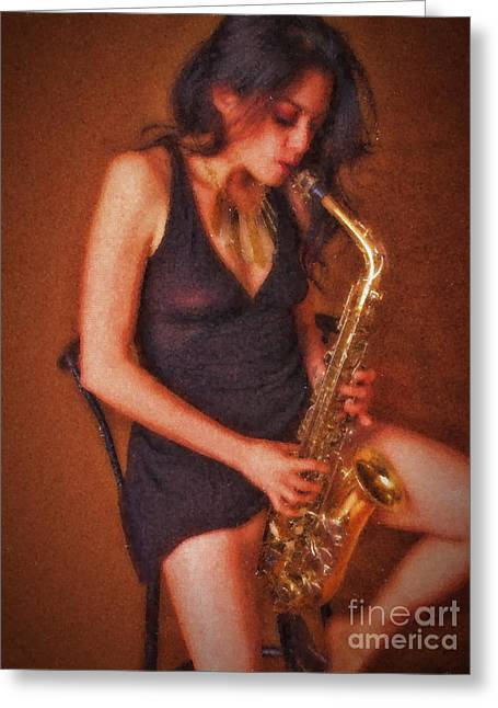 Sax Solo  ... Greeting Card by Chuck Caramella