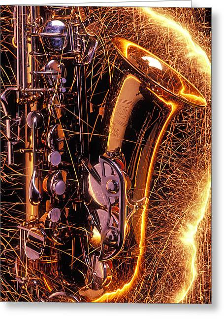 Noise . Sounds Photographs Greeting Cards - Sax with sparks Greeting Card by Garry Gay