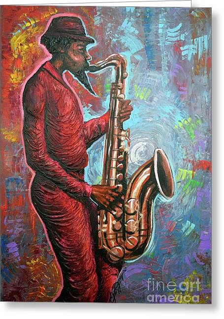 Saxin That Tune Greeting Card by The Art of DionJa'Y