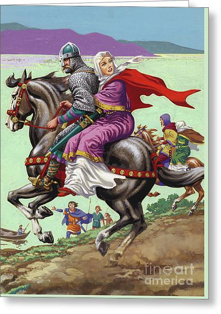 Saxon Princess Margaret Escapes With Her Family From The Clutches Of William The Conqueror  Greeting Card by Pat Nicolle