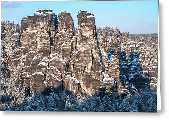 Saxon Switzerland Snowy Rocks Greeting Card