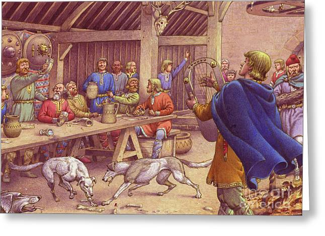 Saxons Carousing  Greeting Card by Pat Nicolle