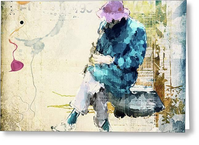 Saxophon Player Greeting Card