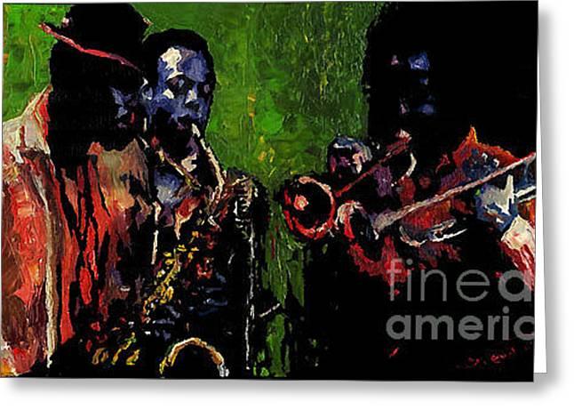 Saxophon Players. Greeting Card by Yuriy  Shevchuk