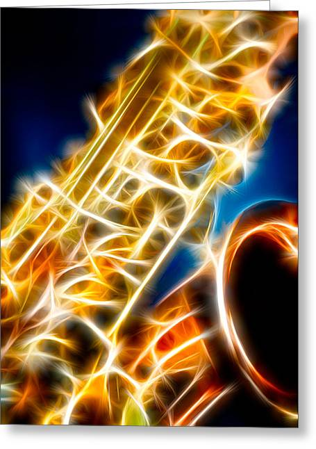 Recently Sold -  - Improvisation Greeting Cards - Saxophone 2 Greeting Card by Hakon Soreide