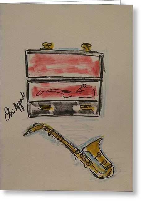 Saxophone Greeting Card by Geraldine Myszenski