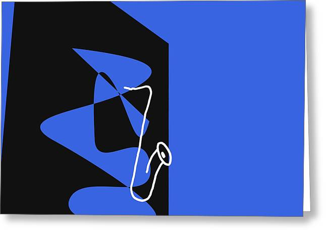Saxophone In Blue Greeting Card by David Bridburg