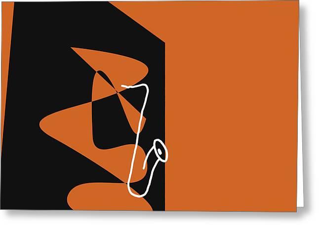 Saxophone In Orange Greeting Card